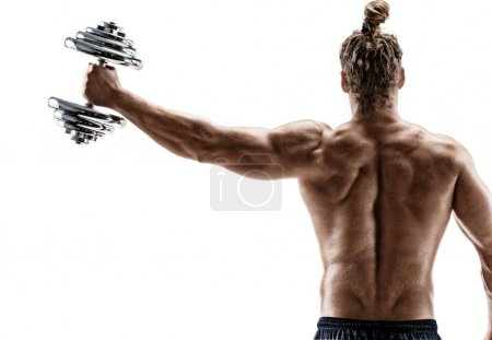 Photo for Rear view of strong man lifting dumbbell. Photo of sporty man shirtless on white background. Strength and motivation. - Royalty Free Image