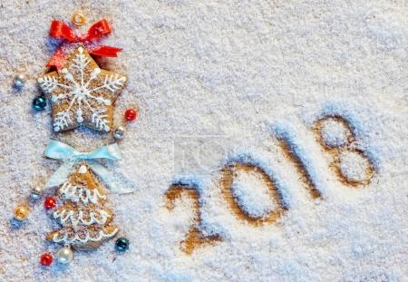 Christmas cookies on snowy background with inscription 2018