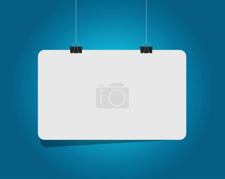 Photo for Blank white hanging banner illustration design over a blue background - Royalty Free Image