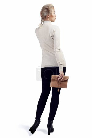 young woman with purse