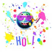 Happy hilarious Earth Globe cartoon mascot laughing and splashing paint colors participating in Holi Festival, vector isolated over white concept illustration