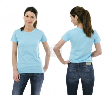 Photo for Photo of a sexy young woman wearing a blank light blue shirt, front and back - Royalty Free Image