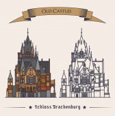 Schloss Drachenburg castle building at konigswinter Facade of construction or structure as gothic symbol retro mansion logo with exterior view old stronghold badge or symbol Historical theme