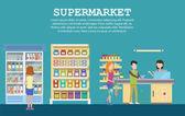 Supermarket interior with grocery milk packs
