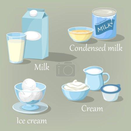 Ice cream and cream, condensed milk or kefir