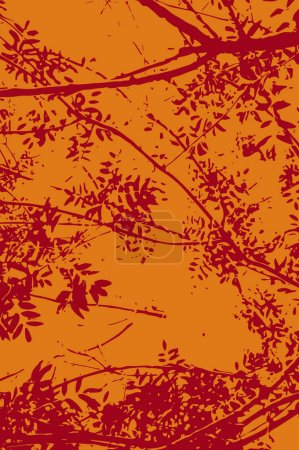 Illustration pour Illustration vectorielle stylisée et chaleureuse pour fond réalisé avec des formes naturelles de branches et de feuilles. Modèle simple en couleurs rouge et orange . - image libre de droit