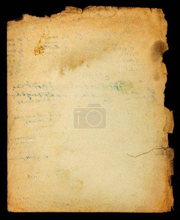 Photo pour Page Vintage papier texturé de désordre avec des bords déchiquetés et cachet texte - image libre de droit