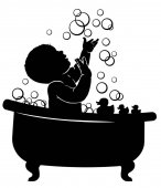 Silhouette Baby bathroom Spen bubbles