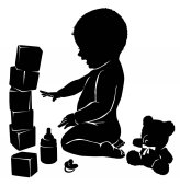 Silhouettes baby and toys