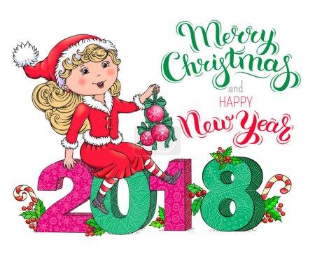 Santa Claus girl Christmas and New Year 2018 card