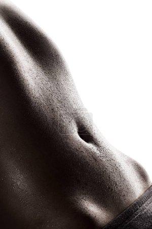 Woman's abdomen full of sweat