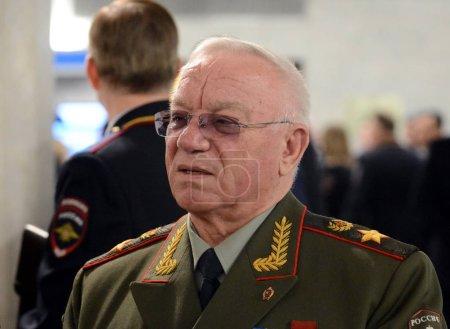 Photo pour MOSCOU, RUSSIE - 9 MARS 2017 : Le ministre des Affaires intérieures de la Russie (1995-1998) Anatoly Sergueïevitch Kulikov, général de l'armée, commandant militaire russe. Docteur en sciences économiques - image libre de droit