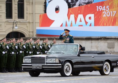 The Minister of defence of Russia Sergey Shoigu takes parade on red square on Victory Day.