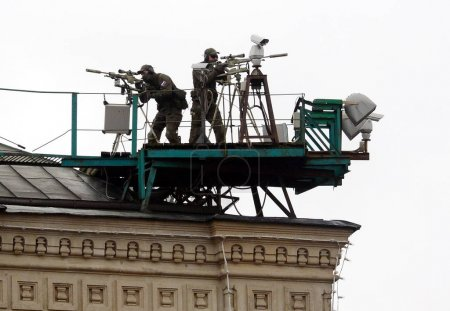 Snipers of the Federal security service of Russia to provide security during a military parade on red square.