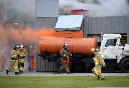 "Fire extinguishing at the training ground of the Noginsk rescue center of the Ministry of Emergency Situations during the International Salon ""Integrated Security-2017"""