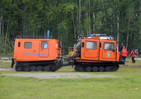 Universal mobile complex for rescue and fire fighting in hard-to-reach places at the Noginsk rescue center during the International Salon `Integrated Security-2017`