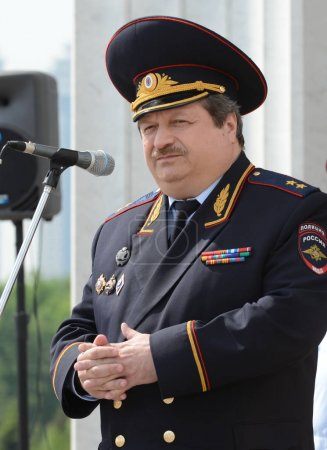 Photo for MOSCOW, RUSSIA - MAY 29, 2015:First Deputy Chief of the Main Directorate for Road Traffic Safety of the Ministry of Internal Affairs of the Russian Federation Lieutenant-General Vladimir Shvetsov. - Royalty Free Image