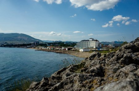 View of the embankment of Sudak from Mount Alchak, Crimea