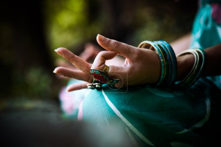 woman meditate closeup of hand