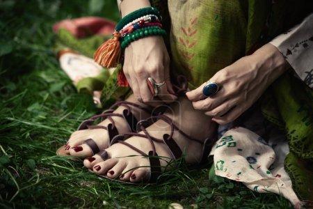 boho style strap flat sandals