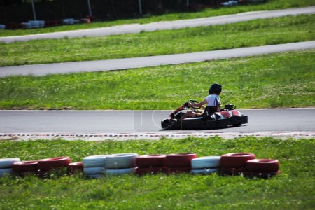 man drive go kart on track