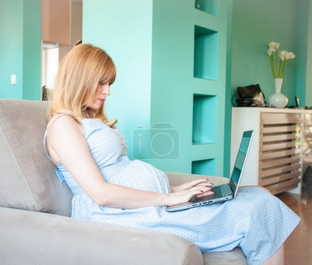 pregnant woman with laptop in apartment