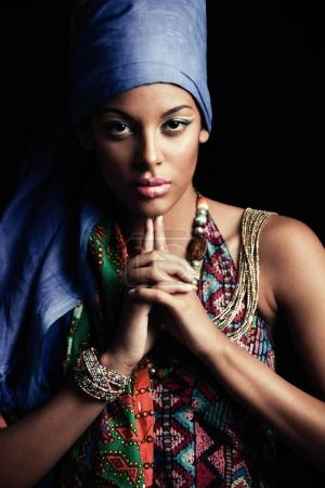 African black young woman beauty portrait with turban