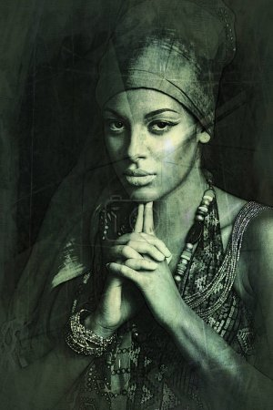 African black young woman beauty portrait with turban texture ad