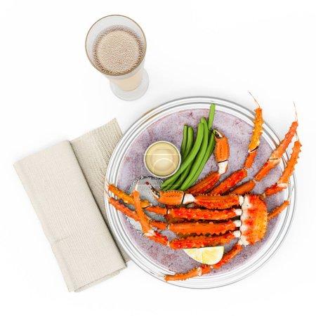 Photo pour Jambes de crabe roi de l'Alaska biologique cuites au beurre. Vue de dessus. Isolé sur fond blanc. Rendu 3D, Illustration 3D . - image libre de droit