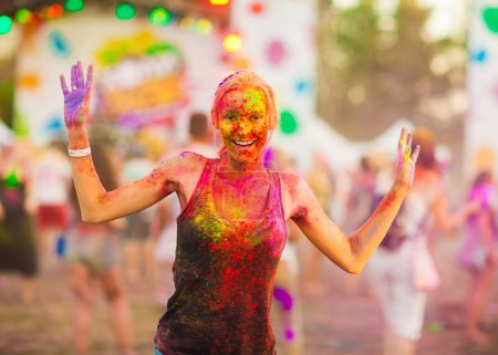 Photo for Girl celebrate holi festival - Royalty Free Image