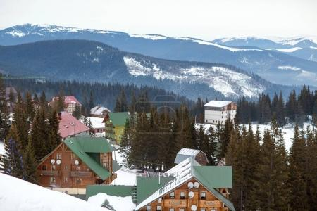 high mountain ski resort with beautiful colorful house
