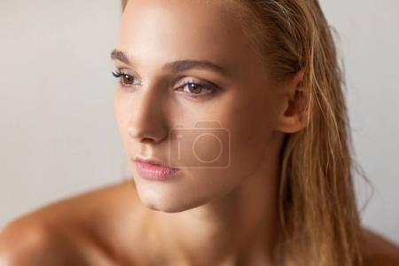nude fashion portrait of a white-haired girl