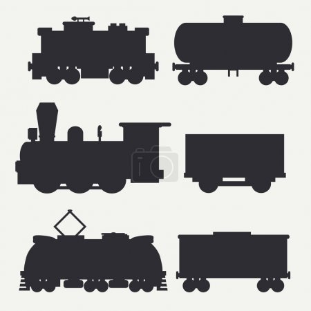 Vector modern and vintage trains silhouettes set with cargo wagons and tank. Steam, diesel and electric locomotives. Cartoon style. Illustration and element for your design. Railway. Wagon. Retro.