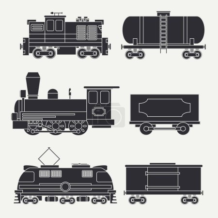 Trendy flat modern and vintage trains with cargo wagons and tank icons set. Steam, diesel and electric locomotives. Vector illustration. Design elements railway collection. Railroad. Wagon. Retro.
