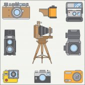 Line flat color vector icon set with retro analog film cameras Photography and art Reflex 35mm photocamera Cartoon style Illustration and element for your design Photographic lens Simple Shoot