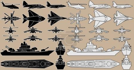 Military Equipment Set of Combat Planes and Ships
