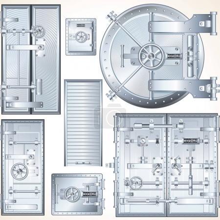 Steel Vault Doors. Finance and Business Set