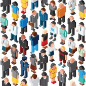 People Crowd Seamless Pattern. Isometric
