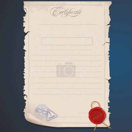 Old Paper Certificate. Template. Editable Image