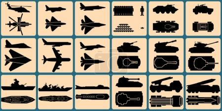 Military Units Silhouettes. Isolated Icons of Vehicles