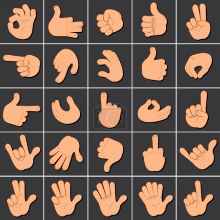 Hand Gesture Sign Set. Icons