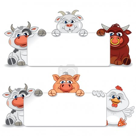 Farm Animals and Birds with Blank Banner