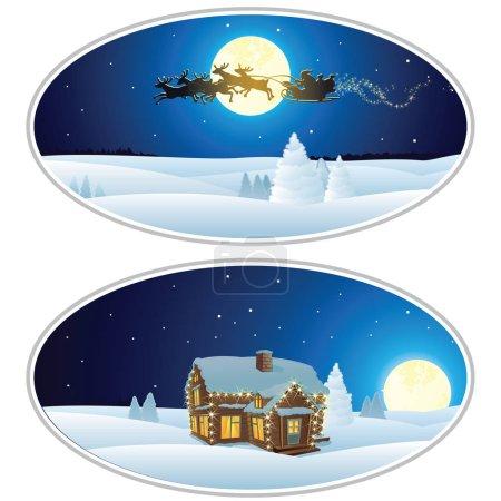 Illustration of Santa House, Santa Sleigh