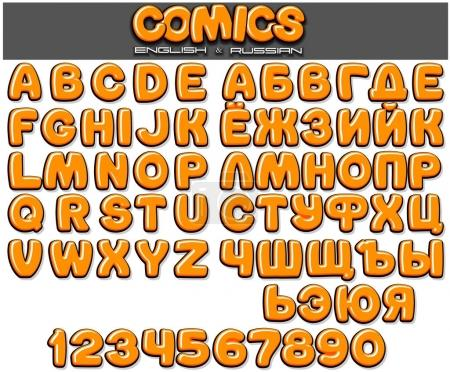 Classic 3D Comics Font. Children Set for Design