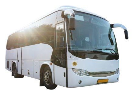 Modern White Bus Isolated on White