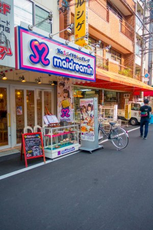 Photo for OSAKA, JAPAN - JULY 18, 2017: Ota road area. The maid cafe located in dowtown of osaka,Japana. - Royalty Free Image