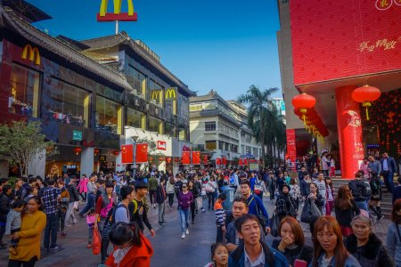 SHENZEN, CHINA - 29 JANUARY, 2017: Lao Gie market district, beautiful mix of traditional chinese and modern architecture, people shopping walking around, great blue sky