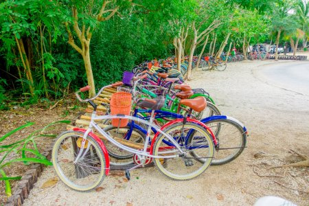 Photo for TULUM, MEXICO - JANUARY 10, 2018: Outdoor view of some bikes parked in a row in the enter of Mayan ruins of Tulum in Quintana Roo,Yucatan Peninsula, Mexico. - Royalty Free Image