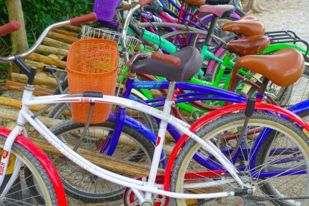 Photo for TULUM, MEXICO - JANUARY 10, 2018: Close up of bikes parked in a row in the enter of Mayan ruins of Tulum in Quintana Roo,Yucatan Peninsula, Mexico. - Royalty Free Image