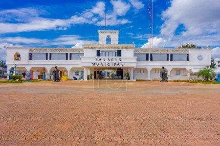 PLAYA DEL CARMEN, MEXICO JANUARY 01, 2018: Entrance to Municipal Palace in Playa del Carmen, Riviera Maya, Mexico in a beautiful blue sky